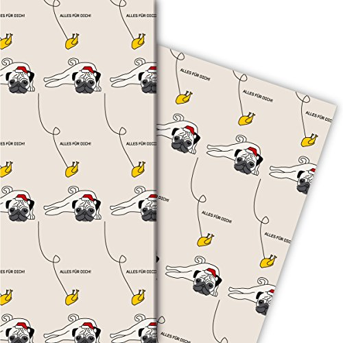 Lustiges Geschenkpapier Set (4 Bogen) | Dekorpapier mit Weihnachts Mops und Hendl: Alles für Dich, beige, für tolle Geschenk Verpackung zu Nikolaus, Advent, Weihnachten 32 x 48cm