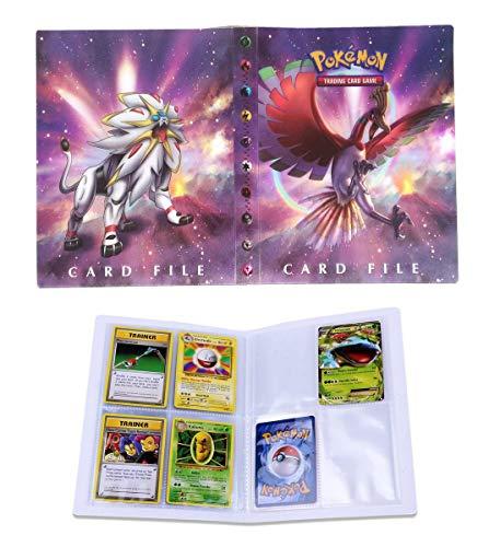 Porte Carte Pokemon, Album pour Cartes Pokemon GX, Classeur Carte Pokemon Album, Peut accueillir 120 Cartes à Unique ou 240 Cartes à Double (Solgaleo and Ho-Oh)