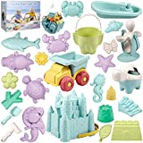 Awefrank Beach Sand Toys Set for Kids, 26 PCS Eco-Friendly Sand Toy, Includes Sand Truck, Castle Bucket, and Other Tools Kit