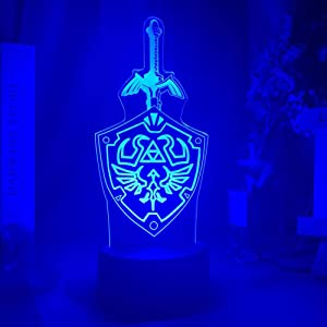 3D Illusion Lamp Game Zelda Link's Sword and Shield Sign Led Night Light Lamp for Kids Child Room Decor Cool Birthday for Fans 7 Colors(with Remote)