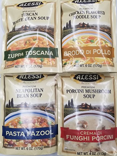 Alessi Athentic Italian Soup Mix 4 Flavor Variety Bundle: (1) Tuscan White Bean Soup, (1) Chicken Flavored Noodle Soup, (1) Porcini Mushroom Soup, and (1) Neapolitan Bean Soup, 4-6 Oz Ea