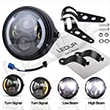 LEDUR 7Inch Round LED Motorcycle Headlights with Housing Bucket DRL Turn Signal Halo Ring Angle Eyes Lights Motorcycle for Motorcycle Harley Davidson