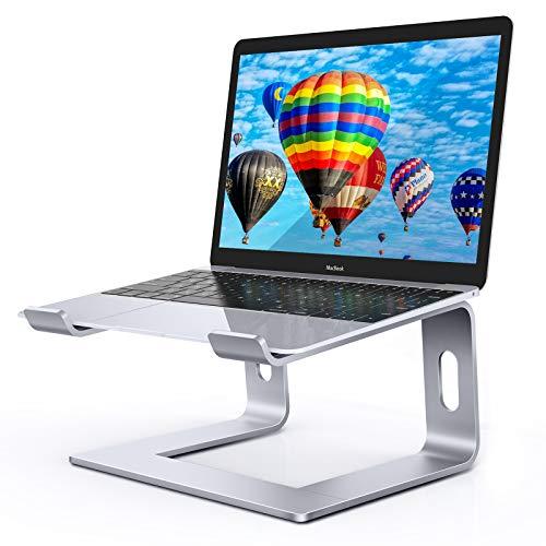 LEHOM Laptop Stand Riser Silver, Aluminum Ergonomic Computer Raised Stands Notebook Holder for Desk, Detachable Desktop Stand Elevator for MacBook Pro Air, Dell, HP, More 10-15.6 inch Laptops