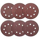 60 unidades de papel de lija de 125 mm con cierre de velcro, 8 agujeros, almohadilla de lijado redonda para lijadora excéntrica aleatoria, P60/80/100/120/150/180, surtido para madera y metal
