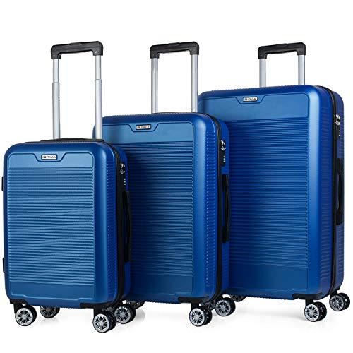 ITACA - Juego Maletas de Viaje rígidas 4 Ruedas Trolley Set 55/67/76 cm abs. duras cómodas s y Ligeras. candado. pequeña Cabina ryanair, Mediana y Grande. t72000, Color Azul