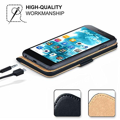 MoEx® Booklet mit Flip Funktion [360 Grad Voll-Schutz] für Huawei P9 Plus | Geldfach und Kartenfach + Stand-Funktion und Magnet-Verschluss, Schwarz - 3