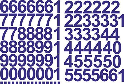 Zahlen Aufkleber 5cm Hoch - in Blau - 96 KLEBEZAHLEN - Selbstklebende Ziffern und Nummern 0-9 - Ideal für den Außenbereich da Wasser und Wetterfest