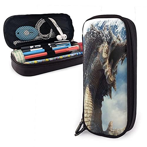 Lila y grosellas - Estuche de piel con gran capacidad para bolígrafos, organizador de escritorio con cremallera para suministros escolares y de oficina, estilo 7