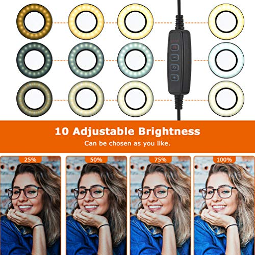 Selfie Ring Light, LEDGLE Upgraded Ring Light 360° Rotating with Cell Phone Holder Stand and Flexible Arms 3 Light Modes 10 Level Brightness for Live Stream Makeup and YouTube Video