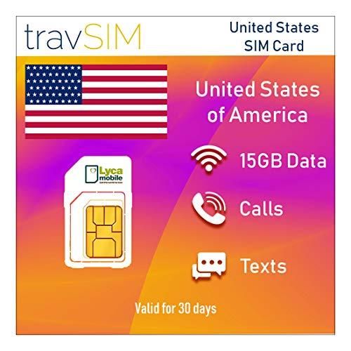 travSIM Lycamobile Prepaid USA SIM-Karte – 15 GB Daten Bei 3G 4G LTE Geschwindigkeit - Unbegrenzte Texte & Anrufe (National & International Bis 75+ Länder) - Gültig für 30 Tage