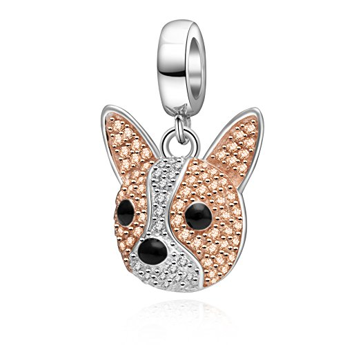 SOUKISS Rose Gold Dog Charms 925 Sterling Silver Sparkly CZ Animal Dog Paw Print Charms for Bracelet