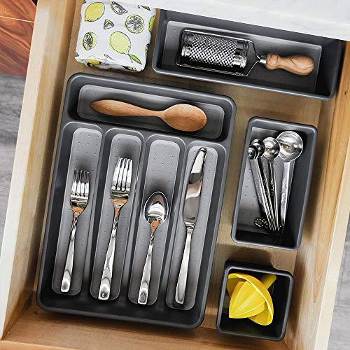 madesmart Classic Mini Silverware Tray - Granite | CLASSIC COLLECTION | 5-Compartments | Kitchen Organizer |Soft-grip Lining and Non-slip Rubber Feet | BPA-Free