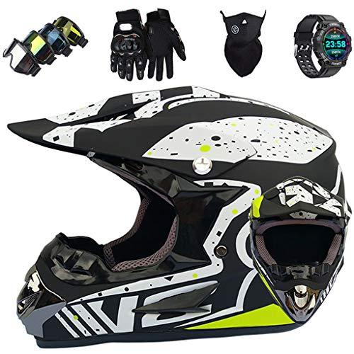 Casco de Moto Niños, Casco de Motocross Integral para Jóvenes y Adultos para Scooter MX MTB ATV, con Gafas Guantes Máscara, Reloj Inteligente Deportivo, Certificación ECE y DOT