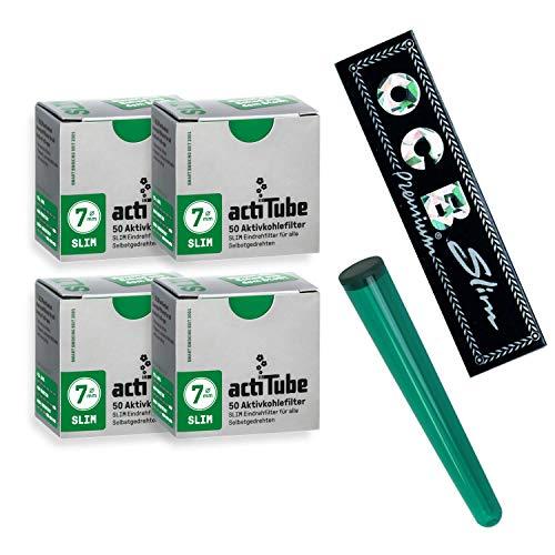actiTube - Lote de 200 filtros de carbón activo Slim (7,1 m, 4 paquetes de 50 unidades), con funda para cigarrillos liados de Kogu de regalo y papelillos Slim de OCB