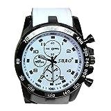 Men Wrist Watch - SBAO Stainless Steel Luxury Sport Analog Quartz Modern Men Fashion Wrist Watch White