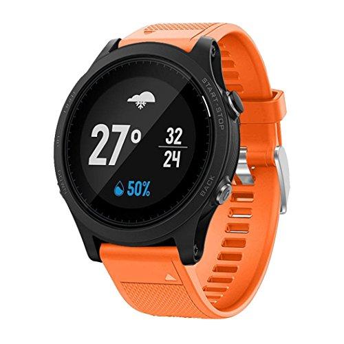 OverDose Correa de Reloj Correa de Banda Suave de instalación rápida para Garmin Forerunner 935 GPS Watch (Naranja)