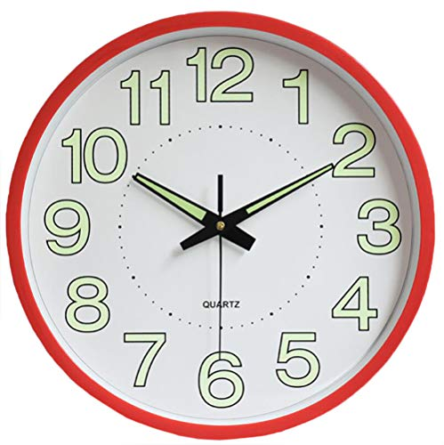 Reloj de Pared silencioso Moderno, con Pilas, sin tictac, Fluorescente, Reloj de Pared Decorativo Digital para Cocina, Sala de Estar, Dormitorio, Oficina (Rojo)