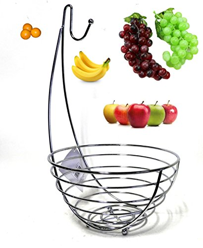 Dependable Industries Jumbo Wire Fruit Bowl with Banana Tree Hanger, Chrome Finish