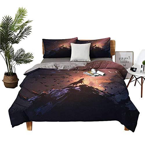 Juego de 4 sábanas para niñas, diseño de lobo aullando en roca rodeado de murciélagos, pájaros, perro aterrador, animales salvajes, arte multicolor, color sólido