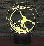 3D Lampada Luci Notturne LED,SUAVER Novità 3D Illusion Lamps LED Night Lights USB 7 Colori Desk Lamp Toccare Comodino Lampada da Camera da Letto,Soggiorno,Casa Regalo Decorazione (Surf)