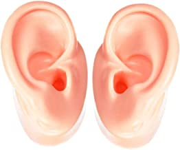 Ear Model One Pair - Flexible Soft Silicone Imitation Real Ear Display Products Ear Mold Artificial Display Sample (Beige)