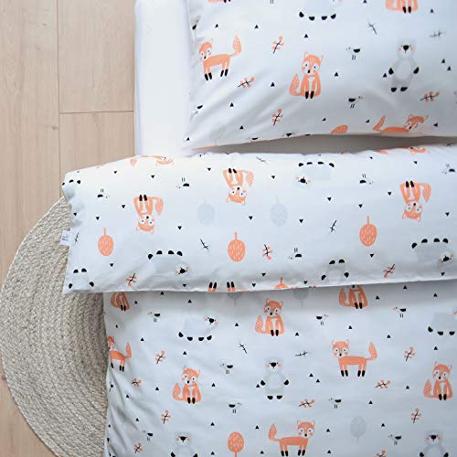 100% Organic Cotton Luxury Kids | Toddler Cot Bed Duvet Cover and Pillow Case Bedding Set 120x150 Fox and Bear Design by littlefeifei