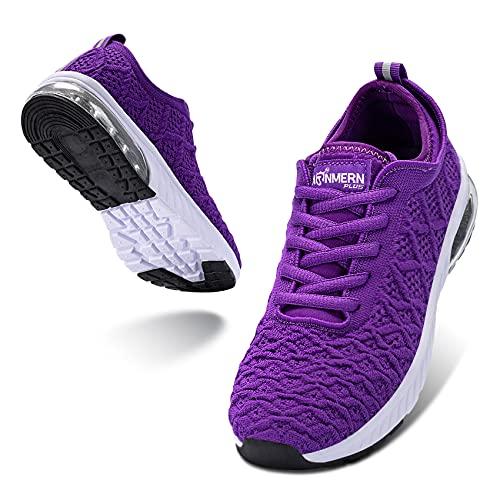 LARNMERN PLUS Mujer Zapatos Colchón Aire Sneakers Respirable Calzado Morado 38