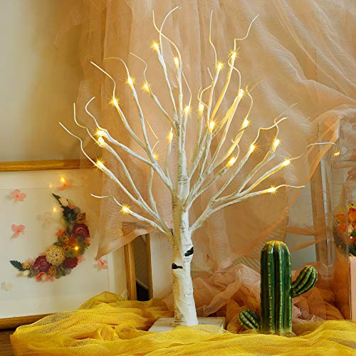 Twinkle Star 24 LED Tabletop Lighted Birch Tree Battery Operated, Thanksgiving Table Decoration Lights for Indoor Christmas Wedding Party Home Bedroom Fall Decoration