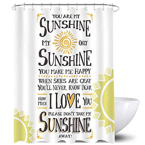 Homewelle You are My Sunshine Shower Curtain Yellow Black Lettering I Love You Words Aqua Beige Pastel Orange Sun Sign Artwork 60Wx72H Waterproof 12 Pack Hooks Polyester Fabric Bathroom Bathtub