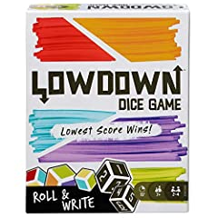 Just like the original Lowdown, Lowdown Roll & Write is easy-to-learn, strategic fun for the whole family! To play, roll 2 color and 2 number dice and use the combinations to fill in empty spaces in one of your 3 grids. Fill them in strategically -if...
