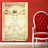 FPUYB Leonardo da Vinci Uomo Vitruviano, Puzzle in Legno C. 1000 Pezzi 75x50 cm Adatto per Giochi di Famiglia, Castelli, Storia, attrazioni, Escursioni, parchi