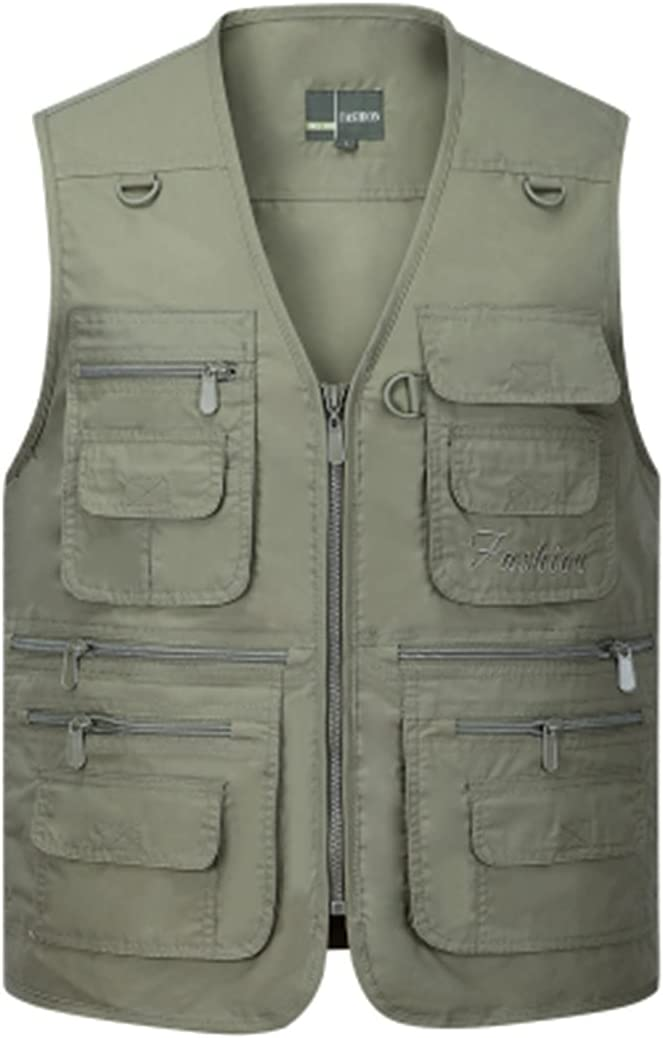 RICHOLV Summer Men Sleeveless Baggy Many Mal Jacket Pockets with Challenge the lowest price of Max 67% OFF Japan