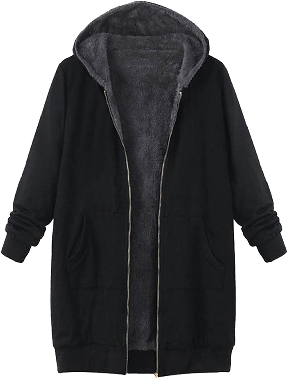 Women's Plus Size Fashion Jacket Coat Vintage Solid Fleece Hooded Zipper Long Sleeve Thick Coat Tops