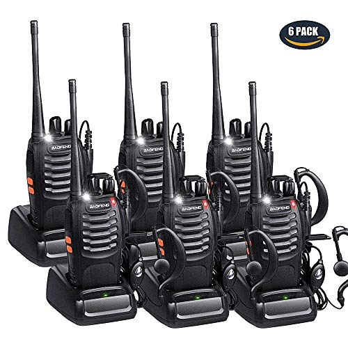 BaoFeng Walkie Talkies Rechargeable Long Range for Adults, UHF FRS/GMRS Two Way Radio with Earpieces 16 Channel Signal Band UHF 400-470MHz Li-ion Battery and Charger (Pack of 6)