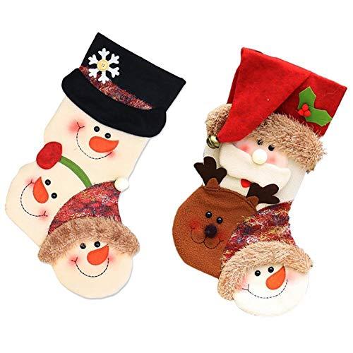 ZHANMAUU Christmas Socks 2pcs Christmas Stocking Santa Stockings Candy Gift Storage Bag for Christmas Tree Fireplace Decoration Funny Socks Print Gift Bag 1026