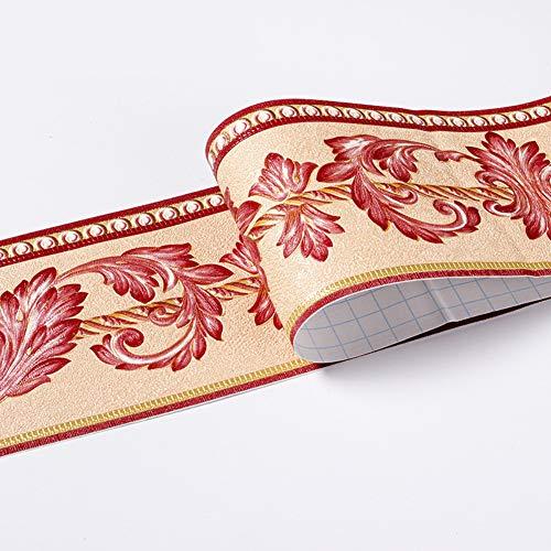 Wasserdichte Tapetenbordüre, 3D-Muster, Wand, abnehmbar, selbstklebend, für Küche und Badezimmer, 10,7 x 499,1 cm, Rot