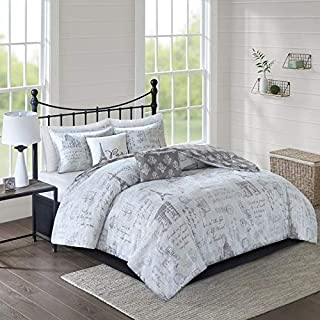 5pc Gray White Paris Full Queen Comforter Set,Stamp Full Queen Bedding Comforter,Parisian Travel Wanderlust Postage Printed Country Damask Charcoal Casual Eiffel Tower Reversible Hypoallergenic