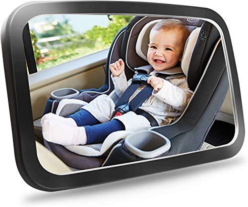 ICONNTECHS Espejo Retrovisor Coche para Vigilar al Bebé en el Coche, 360° Ajustable 100% Inastillable Irrompible Interior Espejo Coche Bebé, para Los Asientos de Niños Orientados Hacia Atrás