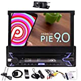 Pure Android 9.0 7' Flip Out Capacitive Touchscreen Single Din Radio GPS InDash Navigation System 1Din Car Stereo Bluetooth Multimedia Player Wifi Phone Mirror FM AM RDS USB With Rearview Camera&MAP