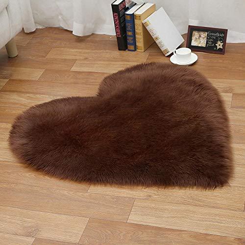 WEIDD Super Soft Faux Sheepskin Sofa Cover Warm Hairy Carpet Seat Pad Fluffy Rugs,marrón En Forma de corazón 90 * 90
