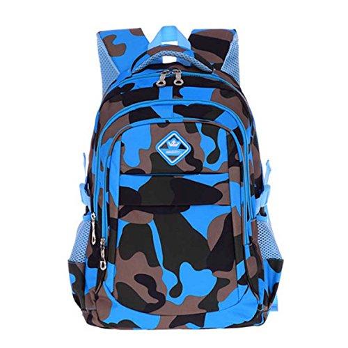 FYGOOD Sac à Dos Cartable Scolaire Camouflage Imperméable pour Enfant Bleu Clair Grand/45x30x20CM