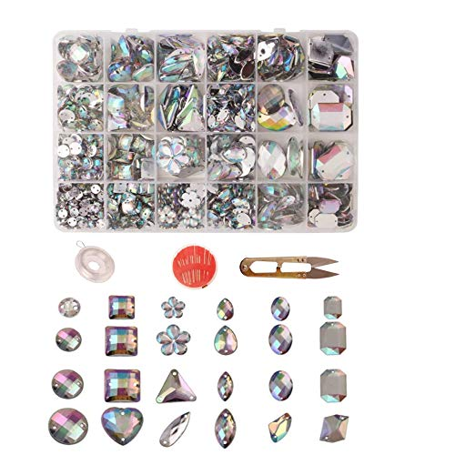 Zasiene Strass da Cucire 700 Pezzi Strass Termoadesivi per Tessuti Cristalli Decorativi Strass Termoadesivi Applicazioni per Tessuti con Scatola di Immagazzinaggio e Altri Accessori