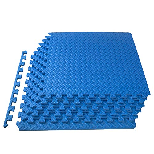 """ProsourceFit Extra Thick Puzzle Exercise Mat1/2, EVA Foam Interlocking Tiles for Protective, Cushioned Workout Flooring for Home and Gym Equipment, Blue, """"1/2"""""""""""" (ps-2300-pzzl-blue)"""