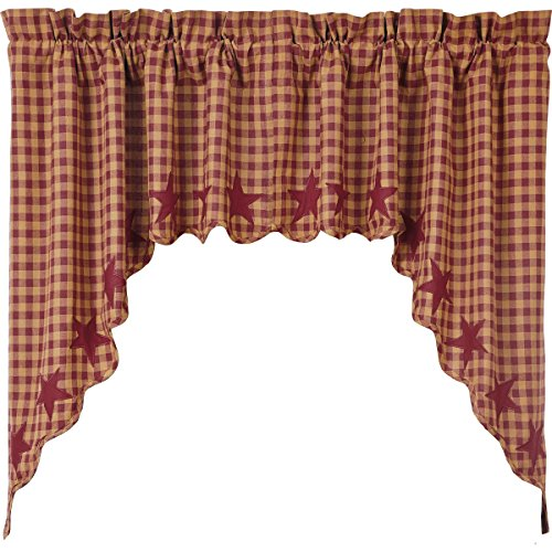 VHC Brands Classic Country Primitive Kitchen Window Curtains - Star Red Scalloped Swag Pair, Burgundy