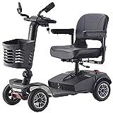 Scooters De Movilidad De 350W Y 4 Ruedas Para Discapacitados Y Ancianos, Triciclo Eléctrico Para Adultos De Hasta 8 Km / H, Scooter Portátil Compacto Plegable, Batería Extraíble De 24V 12 Ah,Negro