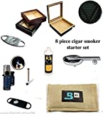 20 Count Cigars glass top cherry Humidor Cutters Lighter ASHTRAY Cigar Caddy...
