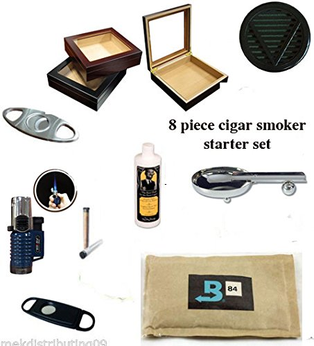 20 Count Cigars glass top BLACK Humidor Cutters Lighter ASHTRAY Cigar Caddy Gift Set & Seasoning kit
