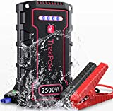 Car Battery Jump Starter, TrekPow TJ2500 2500A Peak 18000mAh Portable Jumper Box(Up to 9.0L Gas/8.0L Diesel Engine), 12V Battery Jumper with Supersafe Jumper Cables, IP68 Waterproof, QC3.0, Flashlight