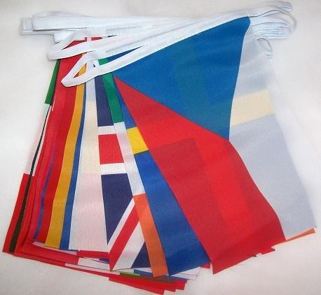 AZ FLAG FAHNENKETTE 28 LÄNDER DER EUROPÄISCHEN Union 6 Meter mit 28 flaggen 15x10cm- Europa 28 Nationen Girlande Flaggenkette 10 x 15 cm