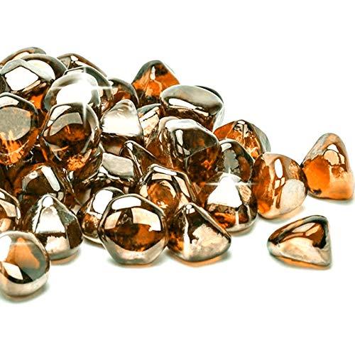 Mr. Fireglass 4,5 kg gemischte Feuerglas-Diamanten für Kamin, Feuerstelle & Lanscaping – 2,5 cm hoch, glänzend, bernsteinfarbene Feuersteine